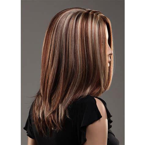 3 color hair highlights pictures parted middle highlights color long straight hair wigs