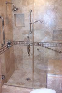 shower stall with seat on tiled showers