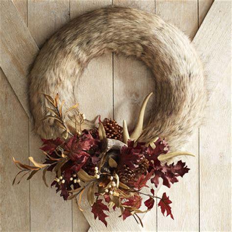 faux wreaths faux fur antler 22 quot wreath pier 1 imports
