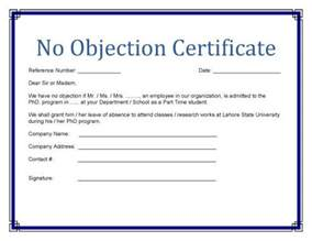 no objection certificate template 124 free printable diy certificate templates