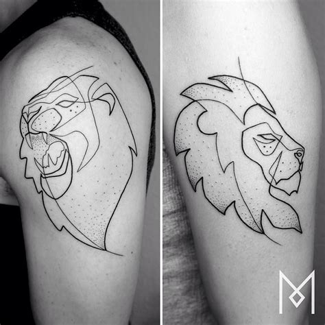 simple lion tattoo tattooistartmagazine moganji singleline tattoos