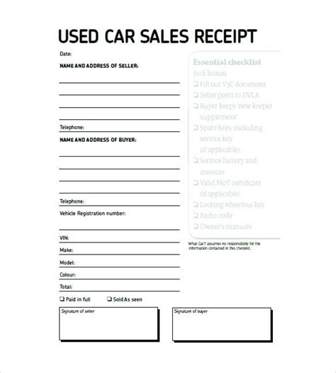 vehicle sales receipt template free car sale receipt template kkey me