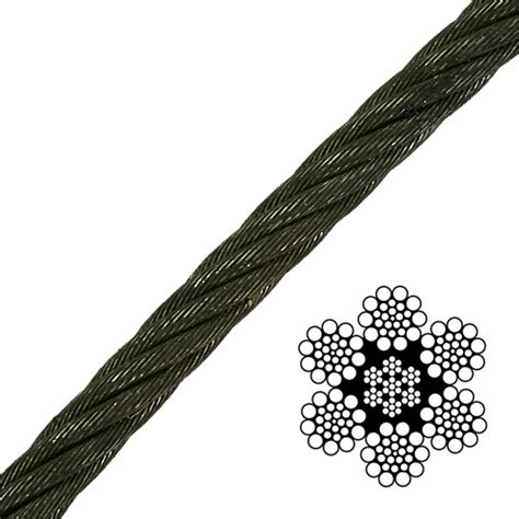 3 8 wire rope strength 3 8 quot x 1000 ft 6x19 class wire rope 15100 lbs breaking strength