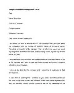 Professional Resignation Letter by Sle Professional Letter Format 9 Free Documents In Pdf Word