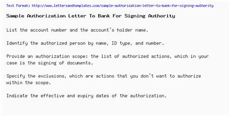 signature authorised signatory letter format bank