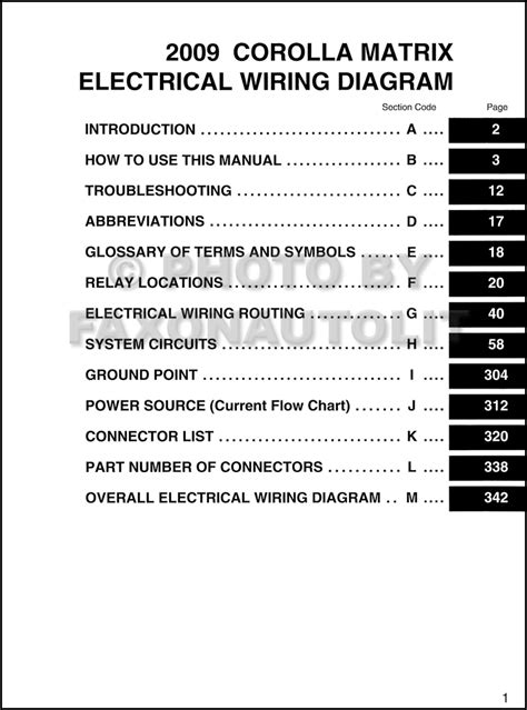 2009 toyota matrix wiring diagram manual original