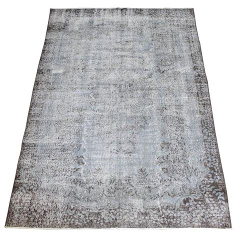 faded rug vintage knotted turkish wool rug in faded indigo for sale at 1stdibs