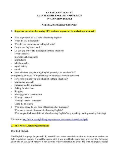 needs questionnaire template needs assessment sles