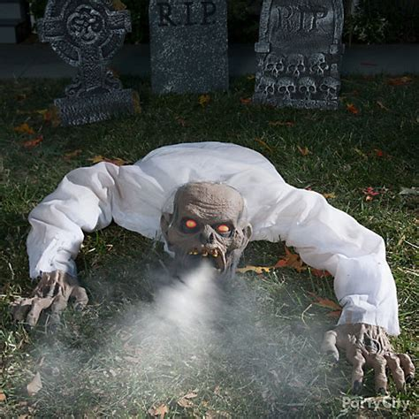 haunted backyard ideas fog breathing zombie idea party city