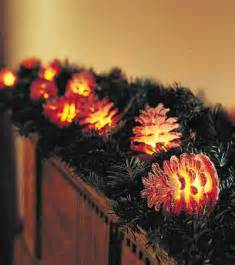 pine cone string lights decorating plow hearth