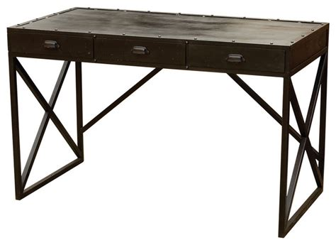 iron desk with 3 drawers antique black eclectic desks