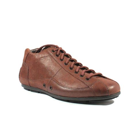 mens brown leather sneakers prada mens shoes brown color leather sports shoes 2t1559