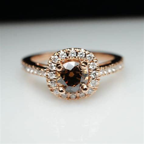 unique cognac brown engagement ring in 14k
