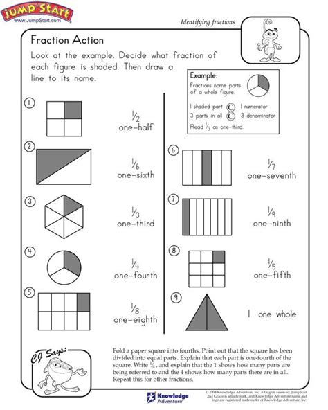 Education Math Worksheets by Quot Fraction Quot 2nd Grade Math Worksheets Jumpstart