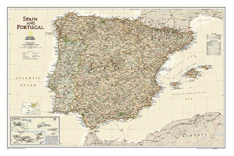 spain and portugal classic tubed national geographic reference map books the savvy traveller national geographic wall maps europe