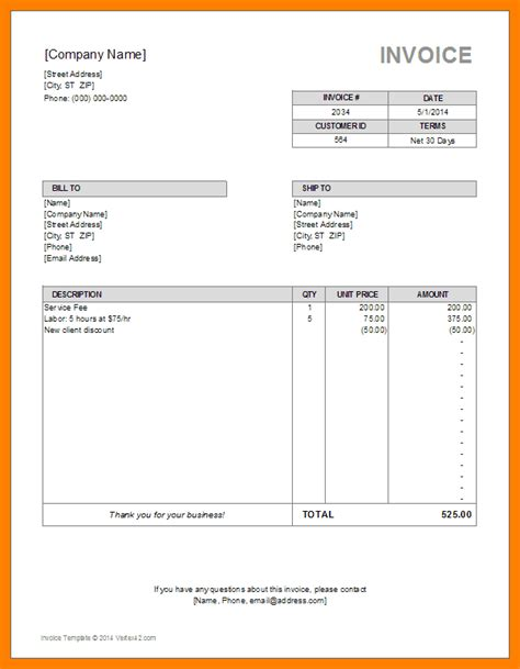 8 Editable Invoice Template Excel 3canc Editable Invoice Template