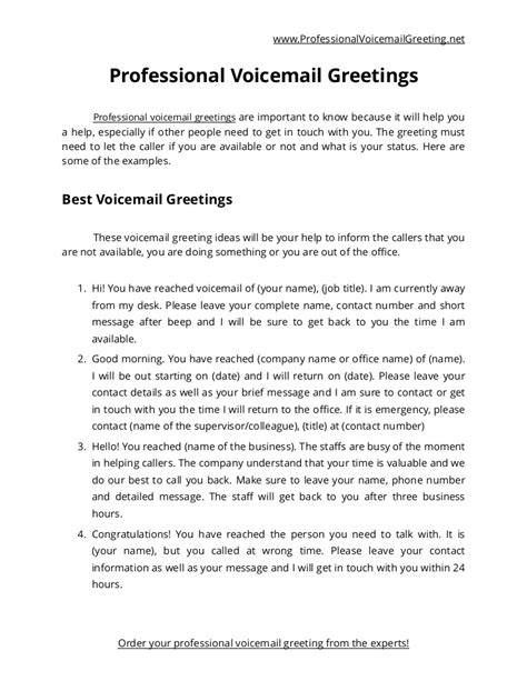 Business Phone Greetings Template List Of 50 Best Voicemail Greetings
