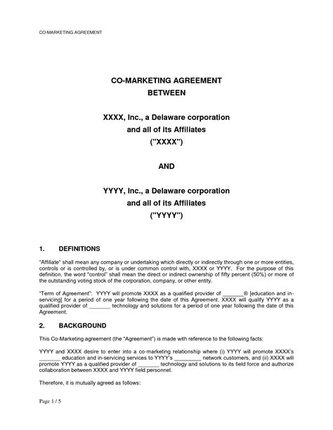 co marketing agreement template 10 best images of marketing agreement template marketing