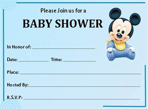 mickey mouse baby shower invitations printable