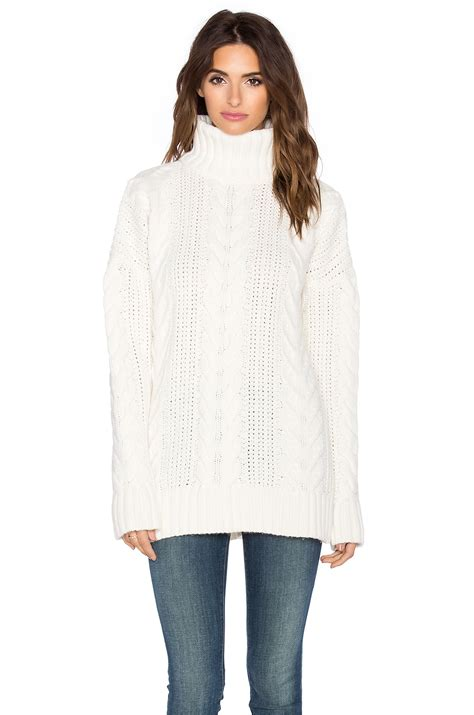 Sweater 10179760 White Knitting anine chunky cable knit sweater in white lyst