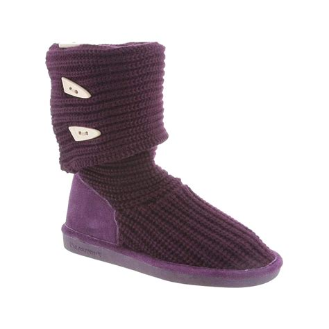 womens knit boots bearpaw knit triangle button boot s ebay