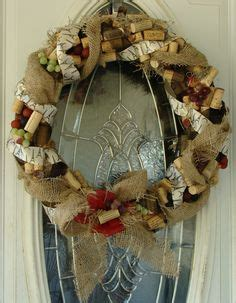 wine cork themed grapevine burlap wreath 65 00 via etsy for the holidays