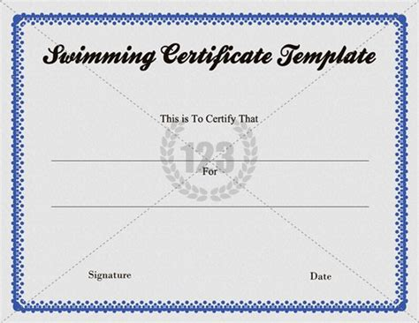 swimming certificate templates free swimming certificate template