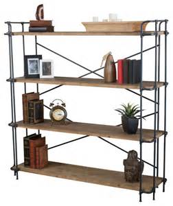 industrial style bookcases cobek 4 shelf industrial design brown solid wood bookcase
