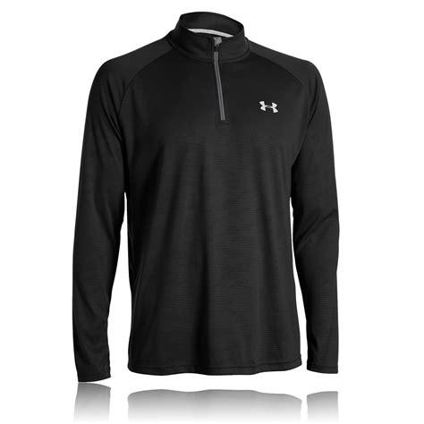 Black Zip Line Shitr armour mens tech novelty black half zip sleeve sports running top ebay