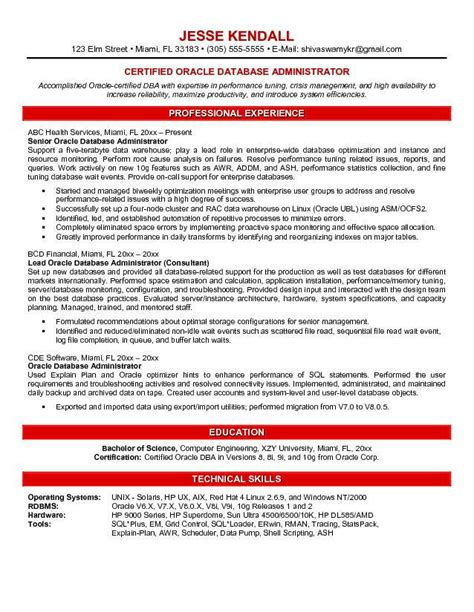 Oracle Dba Resume Exles by Oracle Database Administrator Resume