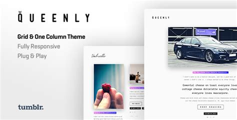 tumblr themes one column big pictures queenly grid one column tumblr theme by roseathemes