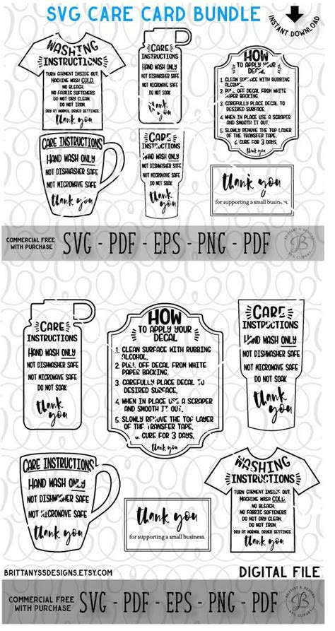 cricut printable vinyl instructions care instruction svg bundle handmade products on etsy