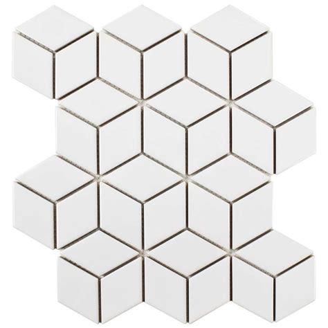 10 X 8 White Ceramic Tile by Merola Tile Metro Rhombus Glossy White 10 1 2 In X 12 1 8