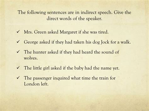 give the pattern of the following sentences ppt direct and indirect speech powerpoint presentation