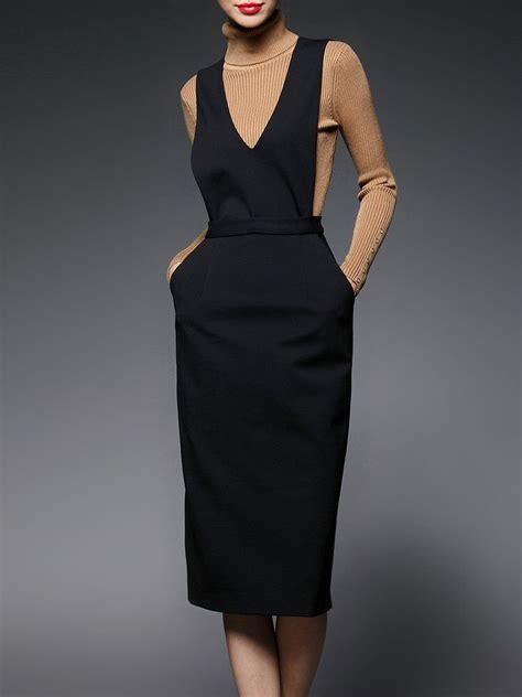 Plain Pinafore Midi Dress black plunging neck sleeveless h line plain midi dress