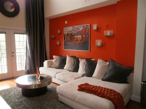 living room with orange accent wall ideas blue walls of photo page hgtv
