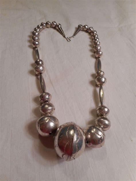 Handmade Sterling Silver - sterling silver pawn handmade beaded necklace from