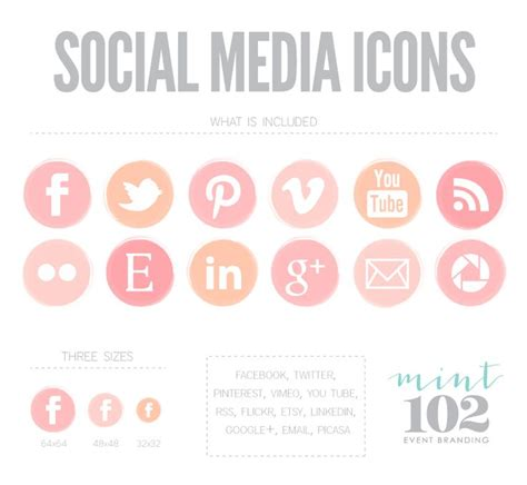 social media icons newhairstylesformen2014 com pink ombre social media icons by mint102 graphic pinterest