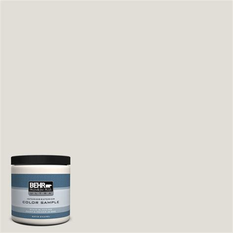 behr premium plus ultra 8 oz ppu24 15 mission white satin enamel interior exterior paint