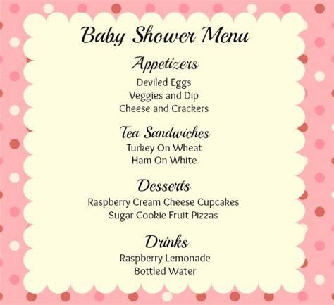 menu for baby shower afternoon pink baby shower menu baby shower