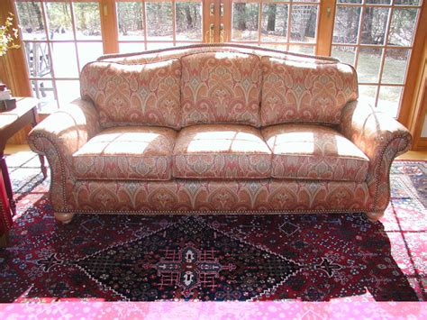 paisley print sofa upholstered couch in colorful paisley print finished