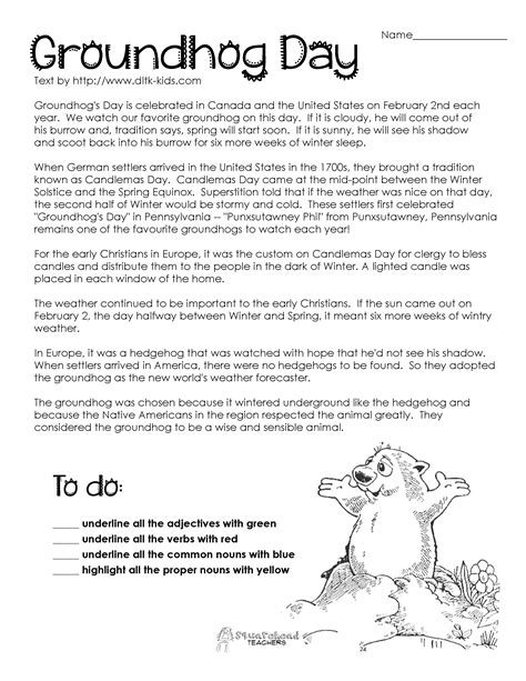 groundhog day meaning origin free coloring pages of parts of speech