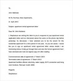 Letter Of Agreement To Rent Sle Rental Agreement Letter Template 8 Free