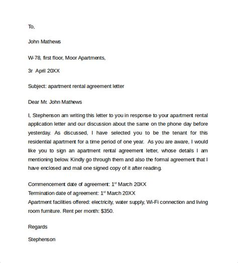 rental agreement letters 8 basic rental agreement letter templates sle templates