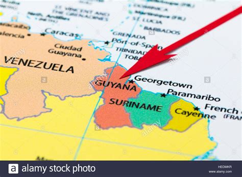 guyana south america map arrow pointing guyana on the map of south america
