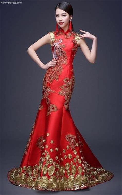 Chinese Wedding Sequin Lace Phoenix Qipao Gown ? YannyExpress