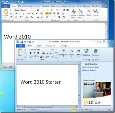 What Is Ms Office Word Comparison Office 2010 Vs Office Starter 2010 Word Excel