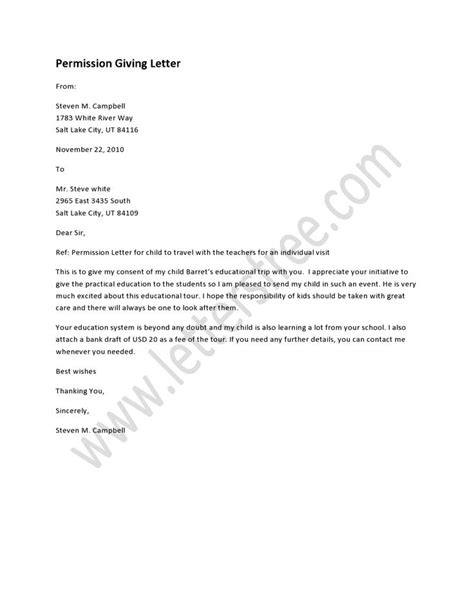 Permission Letter Given By Company For Project sle permission letters a collection of ideas to try