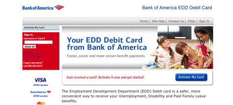 bank of america edd debit card login banking