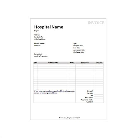 hospital invoice template sle doctors receipt template 16 free documents in